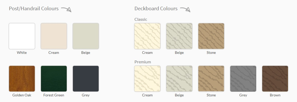 Handrail & Deckboard Colour Chart